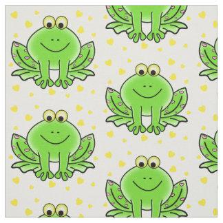 Tissu Le bébé mignon de grenouille et de coeurs badine