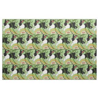 Tissu Le lapin néerlandais sur le concepteur vert a