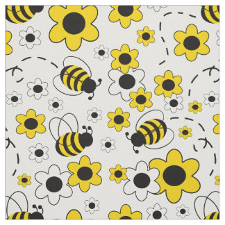 Tissu Le miel gaffent floral jaune blanc de bourdon