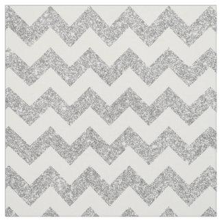 Tissu Le zigzag argenté de scintillement barre le motif