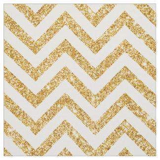 Tissu Le zigzag de scintillement d'or blanc barre le