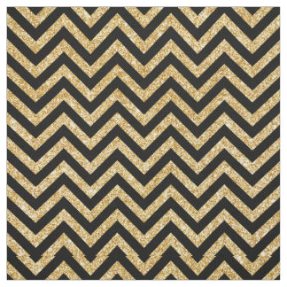 Tissu Le zigzag noir de scintillement d'or barre le