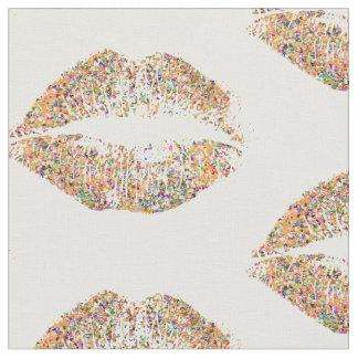 Tissu Lèvres multicolores #31 de parties scintillantes