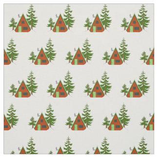 Tissu L'hiver : Motif d'illustration de cabine de