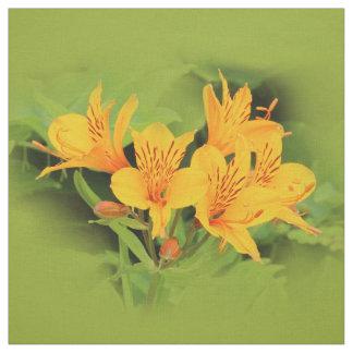 Tissu Lis élégant des Inca/de Alstroemeria jaune