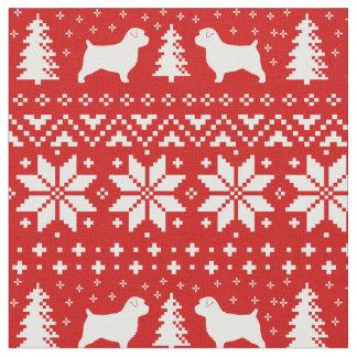 Tissu Motif de Noël de silhouettes de Norfolk Terrier