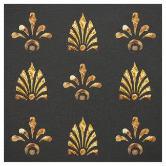 Tissu Motif d'or de feuille avec l'arrière - plan noir