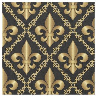 Tissu Motif Fleur-De-Lis d'or décoratif