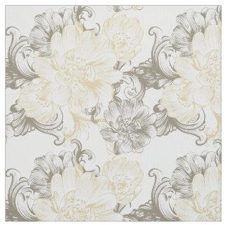 Tissu Motif floral beige victorien vintage de vignes
