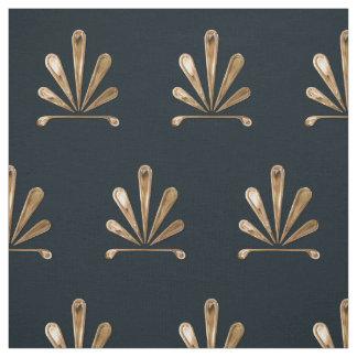 Tissu Motif floral d'or avec l'arrière - plan bleu-foncé