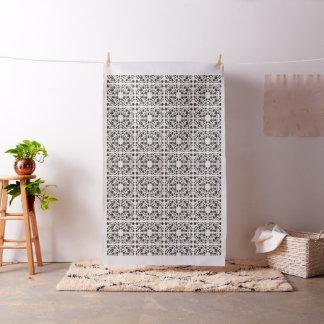 Tissu motif floral noir et blanc