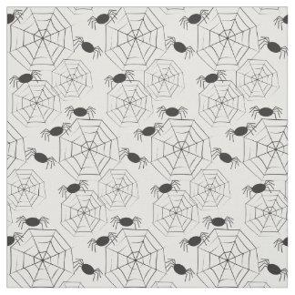 Tissu Motif noir Halloween de toiles et d'araignées