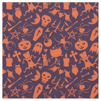 Tissu Motif orange d'éléments de Halloween