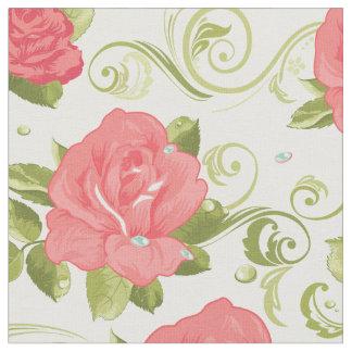 Tissu Motif rose chic minable assez floral de roses