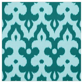 Tissu Motif, turquoise et Aqua de damassé d'Ikat de