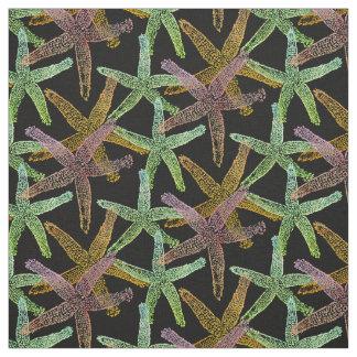 Tissu noir nautique de jaune de vert de rose d'étoiles