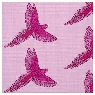 Tissu Perroquet rose en vol, de fuchsia et de glace