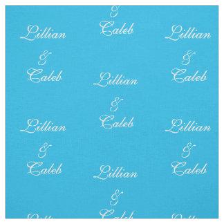 Tissu personnalisé par couples bleus de réception