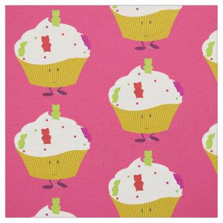 Tissu Petit gâteau gommeux de sourire d'ours