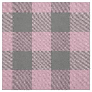 Tissu plaid gris-foncé rose de buffle