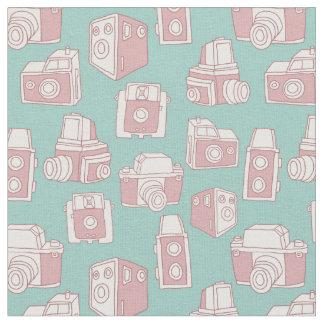 Tissu Rétro motif d'appareils-photo vintages (bleu)