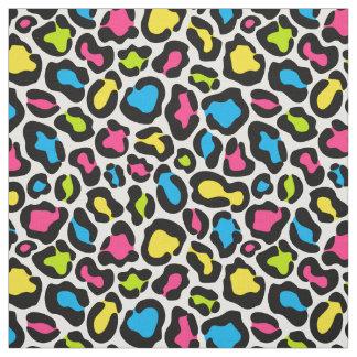 Tissu rose au néon de motif de léopard de jaune de
