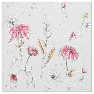 Tissu Rose et moutarde de fleurs sauvages