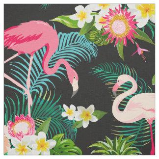 Tissu rose floral tropical de motif de flamants