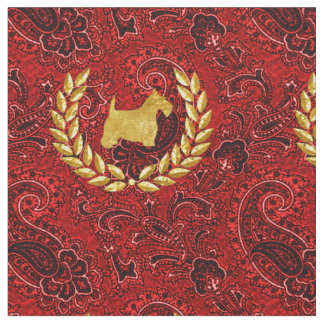 Tissu Rouge riche Paisley de guirlande de Scottie d'or