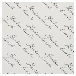 Tissu Signature d'écriture du Président Abraham Lincoln