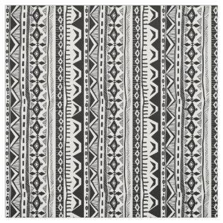 Tissu tribal blanc noir d'impression de rayure