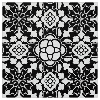 Tissu Tuile marocaine florale, noire et blanche