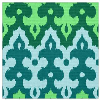 Tissu Vert de damassé, de turquoise et de jade d'Ikat de