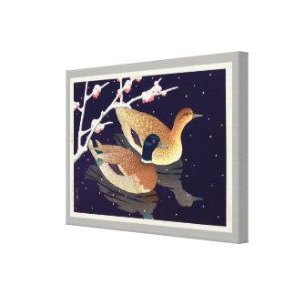 Toile 真鴨, canards de Mallard, Hasui Kawase, gravure sur