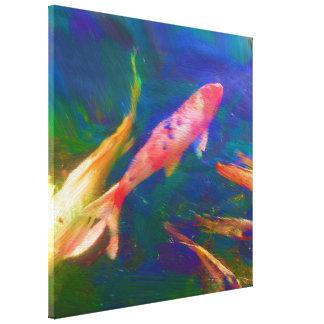 """Toile 24"""" x 24"""" des poissons de Koi a enveloppé la copie"""
