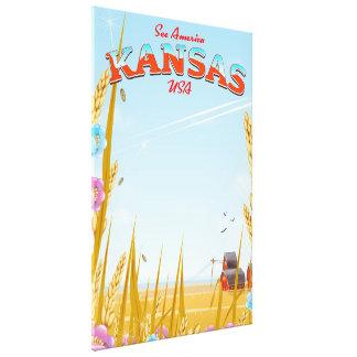 Toile Affiche de voyage de ferme du Kansas Etats-Unis