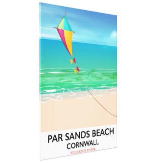 Toile Affiche de voyage de plage des Cornouailles de