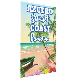 Toile Affiche de voyage de plage du Panama de côte de