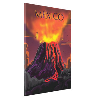 Toile Affiche de voyage de volcan du Mexique
