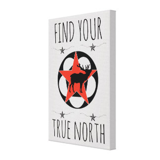 Toile Affiche rouge de nord vrai d'élans d'étoile