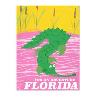 Toile Affiche vintage de voyage d'alligator de la