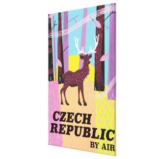 Toile Affiche vintage de voyage de cerfs communs de