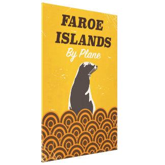 Toile Affiche vintage de voyage des Iles Féroé