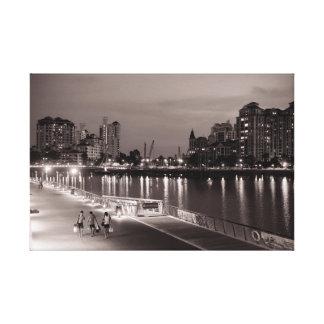 """Toile """"Amis à la vue de rivière de Singapour Kallang de"""