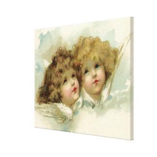 Toile Anges religieux victoriens vintages en nuages