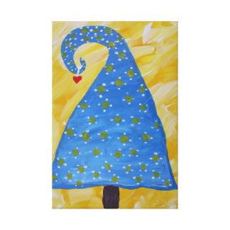 Toile Arbre de Noël bleu drôle