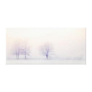 Toile Arbres minimalistes chics d'hiver dans la neige au