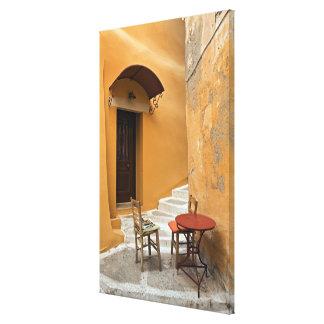 Toile Arrangement de table de trottoir, Chania, Crète,