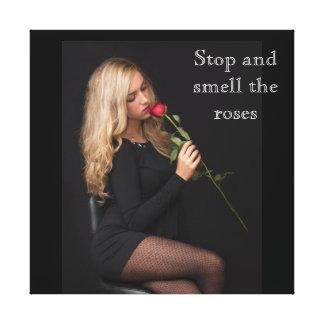 Toile Arrêtez et sentez les roses