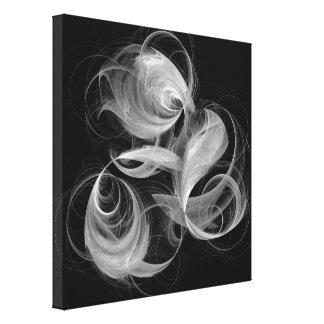Toile Art abstrait d'aérolithe noir et blanc